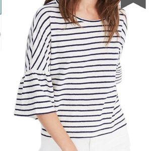NWOT Madewell Striped flare sleeve teeshirt